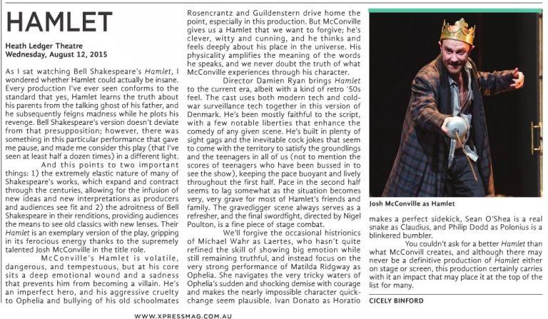 Bell Shakespeare's Hamlet review for X-Press