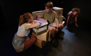Harriet Gordon-Anderson, Barnaby Pollock and Nicola Bartlett in Moving On Inc. at the Blue Room Theatre for Fringe World 2015.
